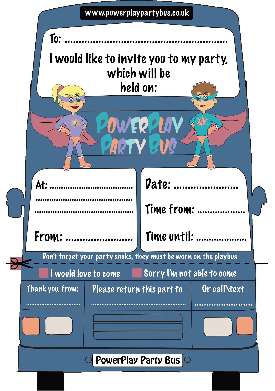 invitations  powerplay party bus, party invitations
